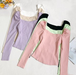 Women's Blouses & Shirts Woherb Autumn Korean Vintage Square Collar Blouse Women Solid Slim Fit Puff Long-sleeve Short Casual Basic Pullover