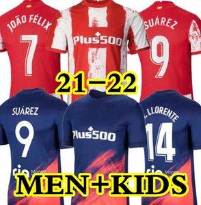 21 22 Atlético futebol Jerseys de Madrid 2021 João Félix Suarez Correa Koke Dembélé Carrasco M.Llorente Homens Kit Kit Futebol Jersey
