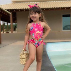 Summer Toddler Kids Baby Girls Vest Tie-Dye Print One-Piece Swimwear Swimsuit Beachwear Bathing Suit One-Pieces