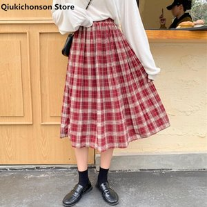 Skirts Qiukichonson Spring Summer Women Midi Long Plaid Vintage Preppy Style Teen Girls Elastic High Waist A-Line Pleated Skirt