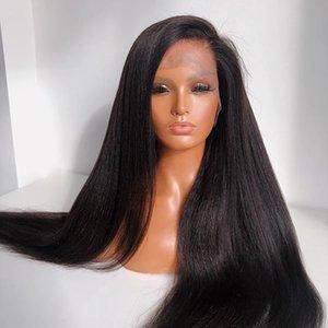 28 дюймов длинные кружева фронтальные парики Синтетический яки прямой парик для женщин предварительно сорванные натуральными волосяными линиями