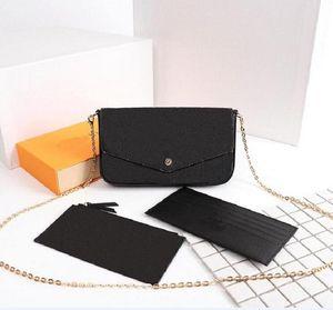 Black Embossing Original Alta Qualidade Luxurys Designers Bolsas De Moda Moda Moda Monogrames Multi Pochette Felicie Chain Crossbody Bolsa De Ombro Com Caixa De Dustbag