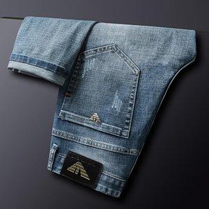 Мужчины осень зимние хлопковые джинсы стройная эластичная Италия орла бренда моды бизнес брюки классический стиль джинсовые штаны мужские мужчины
