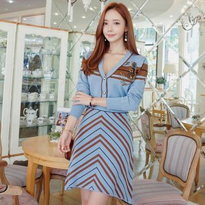 Women's Tracksuits 7566#2021 Autumn Winter Korean Knitted Two Piece Heavy Duty Nail Bead Cardigan Striped Skirt Dress Girl
