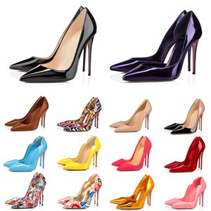 2021 women luxury shoes red bottom high heels Glitter Rivets triple black nude Pink white Blue Patent leather suede fashion party wedding dress shoe