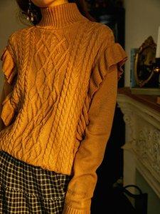 Frauen Rollkragenschlag Twist Strickpullover Dame Langarm Frill Trim Strickwaren Pullover Top Weibliche Mode Herbst Winter Strickwaren Frauen Pullover