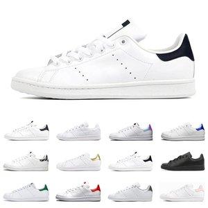 2021 Stan Smith shoes erkekler kadınlar flats sneakers yeşil üçlü siyah beyaz lacivert kırmızı gökkuşağı erkek moda deri ayakkabı açık rahat yürüyüş