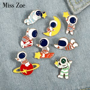 Astronaut Baby Enamel Pin Custom Travel in Space Brooches Bag Lapel Pin Badges Planet Moon Star Meteor Jewelry Gift for KidsDIO CHAN CONTACT