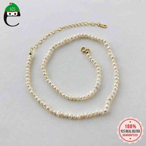 ElfoPlataSi Authentic 925 Sterling Silver Elegant Pearll Chocker Necklace For Women Wedding Birthday Gift Jewelry Y3-57
