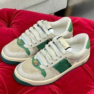 2021 Diseñador de gama alta pareja estilo europeo y estadounidense zapatos de ocio rojo color verde moda deportes plana suela zapatos 35-45