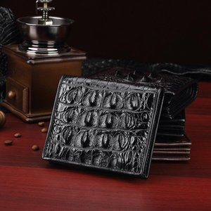 Adam için timsah deri cüzdan hakiki küçük çanta vintage kısa erkek desen sikke cüzdanlar