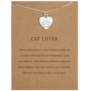 Paw Love Cat Print Necklace Animal Cat Footprint Collarbone Chain