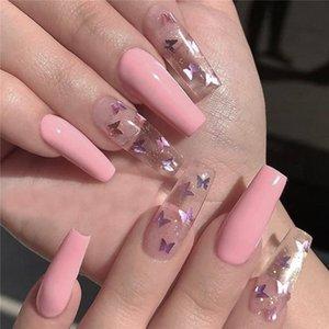 24PCS Butterfly False Nails Tips Pure Color Transparent Long Ballerina Fake Nail Tip Coffin Full Cover Fingernails Decoration