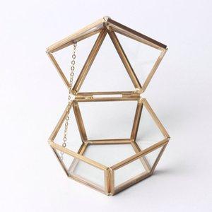 Пентаунальные латунные цветные стеклянные украшения для хранения коробки украшения подарок