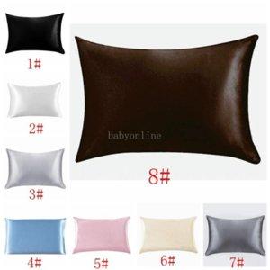 20*26inch Silk Satin Pillowcase Home Multicolor Ice Silk Pillow Case Zipper Pillow Cover Double Face Envelope Bedding Pillow Cover BC