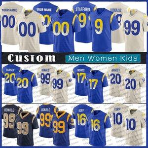9 Matthew Stafford Fútbol Jersey Custom Hombres Mujeres Niños 99 Aaron Donald 10 Cooper Kupp 20 Jalen Ramsey LarRams 23 Cam Akers 12 Van Jefferson 75 Deacon Jones Jerseys