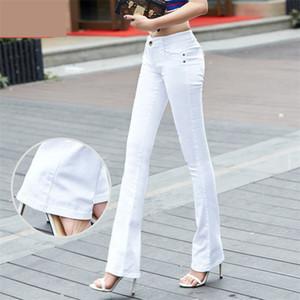 QBKDPU Artı Boyutu Renkli Pantolon Flare Pantolon Siyah Ve Beyaz Çan Alt Pantolon Seksi Parti Kulübü Kot Pantalones Para Mujer 210319