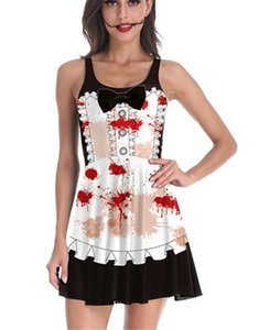 Bereaved Maid Costume Halloween Dresses Fashion Designer Party Dress with Button Digital Printed Black Uniforms Cosplay