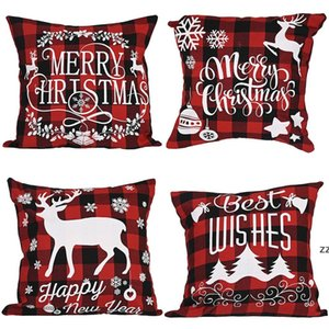 Christmas Pillow Case Black and Red Buffalo Plaid Linen Cushion Cover for Sofa Couch Xmas Decor 18 Inch HWE9840