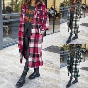 Women's Trench Coats 2021 Winter Women Checked Jacket Casual Oversized Turn Down Collar Long Coat Female Thick Warm Woolen Blends Overcoat S