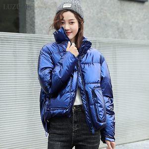 LUZUZI Fashion Short Glossy Winter Jacket Women 2020 Waterproof Down Cotton Parkas Big Pocket Warm Thick Parkas Coats Female