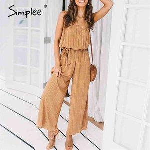 Off shoulder sexy jumpsuit women elegant Sashes long rompers Summer solid leopard print overalls playsuit 210423