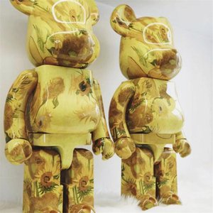 New style 400% 28CM Bearbrick The ABS Sunflower Fashion bear Chiaki figures Toy For Collectors Be@rbrick Art Work model decoration toys gift
