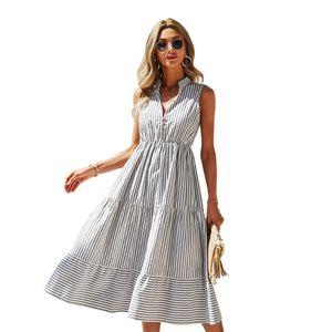 Summer Elegant Striped Women Sleeveless Tank Dress Casual V Neck Ladies Empire Swing Casual Ruffles Dresses