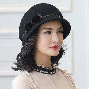 100% Avustralya Yün Fedoras Kadınlar Sonbahar Kış Kilisesi Cloche Şapkalar Zarif Ziyafet Vizon Kürk Fedora Şapka