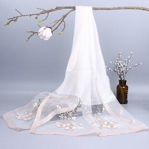 Nueva bufanda de lana de seda bordada bordada para mujer chalujas de seda bordadas de mujer