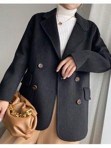 가을 / 겨울 2021 양면 캐시미어 코트 여성의 하늘의 정장 모피 짧은 streetwear 턴 다운 칼라 자켓