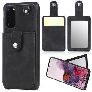 Moda Embossed Carteira Casos para iPhone 12 Pro Max Samsung S8 S9 S10 PLUS S10 E S10 S20 Ultra Note 8 9 10 20 Capa Capa Carteira Espelho