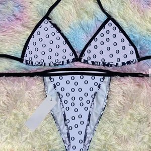 Kadın Bikini Yaz Kadın Mektup Baskılar Mayo Lady Seksi Moda Mayo Push Up Olgun Wrap Beachwear Backless Halter Askı Biquni Yüzmek Soğuk