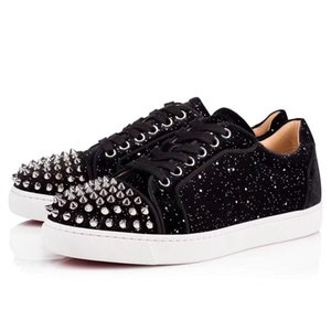 Silver Glitter Leather Red Bottom Sneakers Shoes Vieira 2 Spikes Wholesale Comfort Casual Walking Famous Men,Women Nice Party Time Couple Trainers
