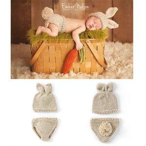 Bunny Photography Props Bunny Crochet Knitting Disfraz Set Conejo Sombreros y pañales Gorros y Pantalones Trajes Accesorio 51 Z2