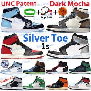 2021 Мужчины Баскетбольные туфли Серебряный Ног Высокий темный Mocha 1 1S Кроссовки UNC Патентный Университет Университет Синяя Тень Свет Свет Свет Серый Чикаго Спортивные тренажеры