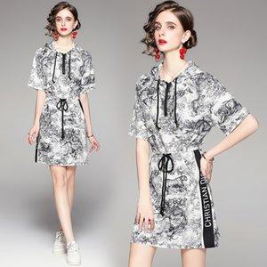 Casual Womens Hoodies Dress Short Sleeve Summer Printed Dress High-end Trend Lady Dress Fashion Girl Dresses