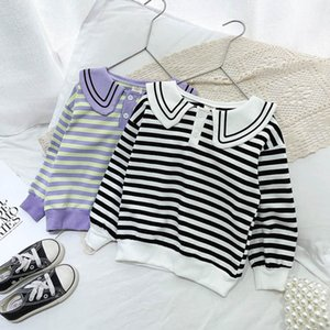 T-shirts Casual Children Shirts Girls Clothes Kids Dress Spring Autumn Long Sleeve Striped Cotton Tops 2-7Y B4463