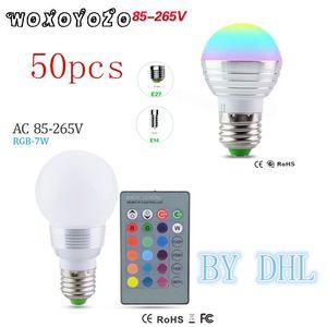 المصابيح بواسطة DHL 50PCS LED RGB لمبة 5W 7W E14 E27 AC85-265V 16 لون مصباح + IR التحكم عن بعد ليلة ضوء بقعة