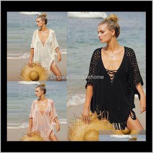 Er-Ups Equipment Water Sports & Outdoors Drop Delivery 2021 Crochet Knitted Tunic For Beach Dress Swimwear Women Swimsuit Pareos Bikini Up Sa