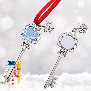 Sublimation Blanks Christmas Decorations DIY Metal Pendant Christmas Tree Snowflake Key Angel Wing Creative Ornament Xmas Gift GWD10632