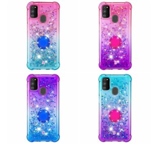 For Iphone 12 11 Samsung Note 20 Ultra Plus cases Gradient Quicksand Soft TPU Case Shockproof 360 Finger Metal Ring Liquid Holder Stand Back Cover
