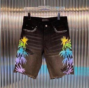 Mens Curto Moda Reta buracos Denim jeans casuais shorts preto azul verão homens hip hop calças dw7082