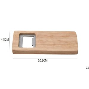 newWood Beer Bottle Opener Stainless Steel With Square Wooden Handle Openers Bar Kitchen Accessories Party Gift by sea HWD8492
