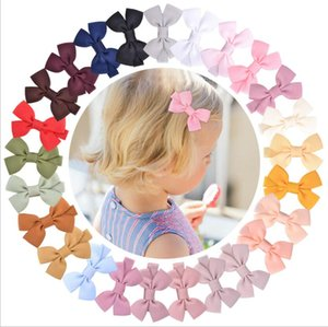 25 Colors Girl Mini Hair Bows 2 inch Bow Solid Color Design Baby Girls Elegant Clippers Kids Accessory