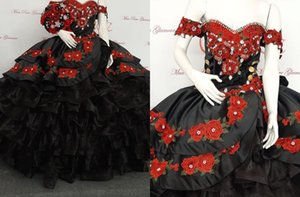 Sexy Black and Red Floral Patterned Flowers 2022 Quinceanera Dresses Off the shoulder Ball Gown Gold Buttons Pearls Sweet 15 16 Charra Prom Evening Formal Party Dress