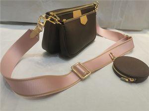 3 PCS Set Favorito Multi Pochette Accesorios Mujeres Crossbody Purse Messenger Bags Bolsos Flores Diseñadores Hombro Lady Cuero Bolsa