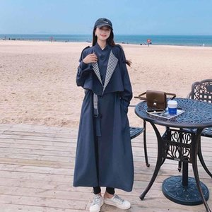Women's Trench Coats 2021 Spring Autumn Patchwork Navy Blue Plaid Women Coat Long Double-Breasted Duster For Lady Outerwear