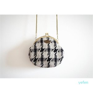 Cell Lady 2020 Bag Fabric Felt Handbag Shoulder Vintage Women Houndstooth Woven Wool Retro Top-handle Small Tweed Phone Lilyhood Axgcb