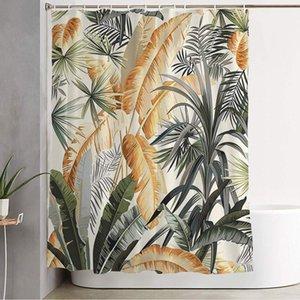 샤워 커튼 후크 장식 원활한 인쇄 정글 패턴 자연 식물 녹색 패션 수채화 빈티지 여름